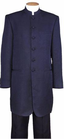 Mens Navy Long Jacket Chinese Collar Suit 6905H Milano Size 38R Final Sale