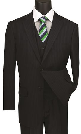 Mens Navy Pinstripe 3 Piece Suit Regular Fit Vinci V2RS-7 - click to enlarge