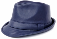 Mens Navy PU Leather Stingy Brim Hat Bruno FD-282