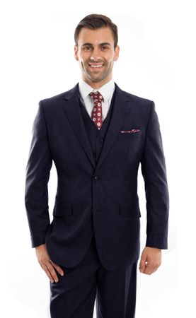 Men's Navy Wool Three Pc. Suit Flat Front Pants ZeGarie MW249 - click to enlarge