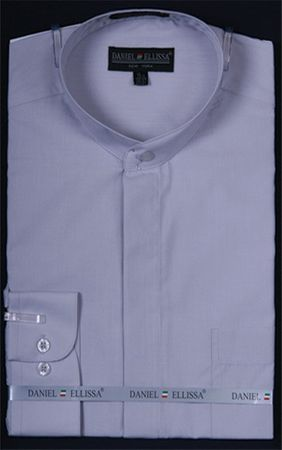 Mens Silver No Collar Dress Shirt Silver Color DS3001C