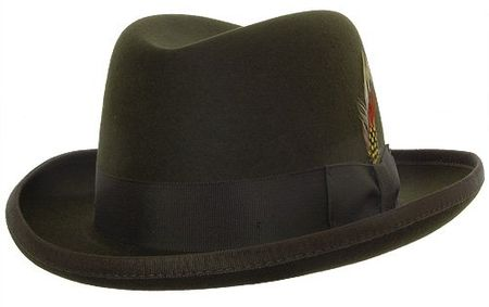 Mens Olive Green Godfather Hat 100% Wool Homburg 4201