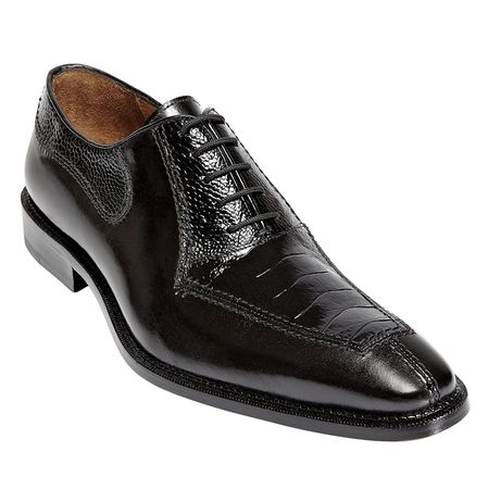 Mens Ostrich Top Shoes by Belvedere Black Shoes Dino 0B1 - click to enlarge