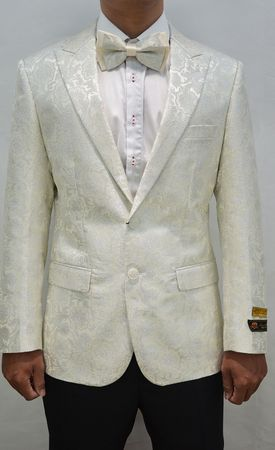 Mens Paisley Blazers Ivory Mens Dinner Jacket Alberto Paisley-100 Size 3XL Final Sale