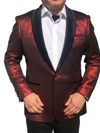 Mens Paisley Blazer Shawl Collar Modern Fit Red Blazer-236 Size 3XL Final Sale