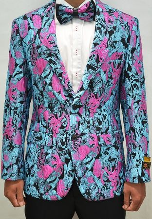 Mens Paisley Blazer Turquoise Mens Dinner Jacket Alberto Paisley-100 - click to enlarge