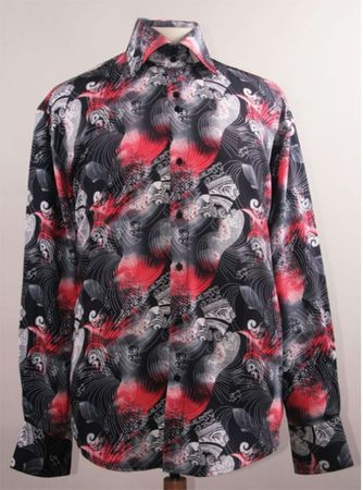 Mens Party Fashion Shirts High Collar Black Red Abstract Print DE FSS1413 - click to enlarge
