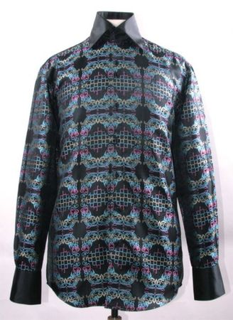 Mens Party Wear Shirt Black Multi Tapestry High Collar DE FSS1428