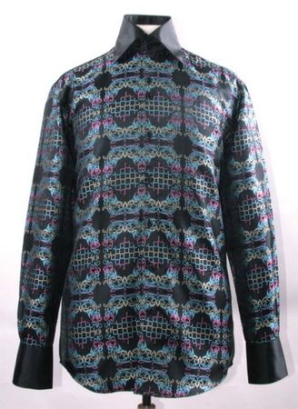 Mens Party Wear Shirt Black Multi Tapestry High Collar DE FSS1428 - click to enlarge