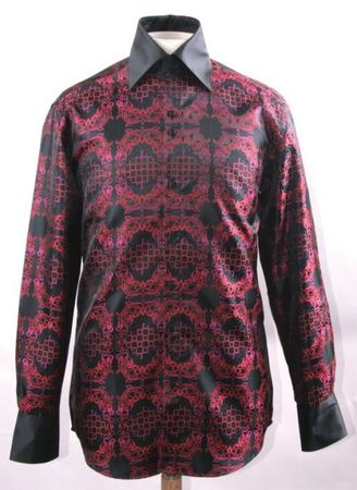Mens Party Wear Shirt Black Red Tapestry High Collar DE FSS1428 - click to enlarge