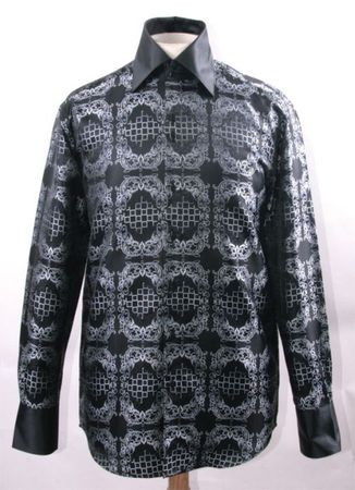 Mens Party Wear Shirt Black White Tapestry High Collar DE FSS1428