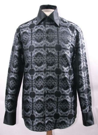 Mens Party Wear Shirt Black White Tapestry High Collar DE FSS1428 - click to enlarge