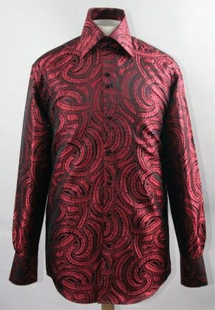 Mens Party Wear Shirt High Collar Black Red Braid DE FSS1430 - click to enlarge
