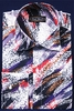 Mens Party Wear Shirt High Collar Black Red Streak Print DE FSS1411