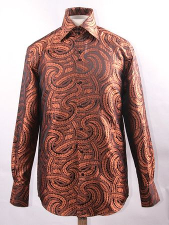 Mens Party Wear Shirt High Collar Black Rust Braid DE FSS1430