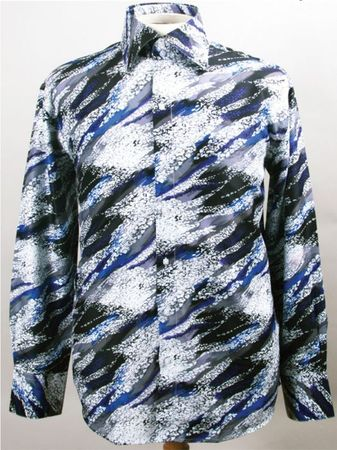 Mens Party Wear Shirt High Collar Blue Streak Pattern DE FSS1411