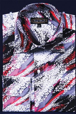 Mens Party Wear Shirt High Collar Fuchsia Streak Pattern DE FSS1411