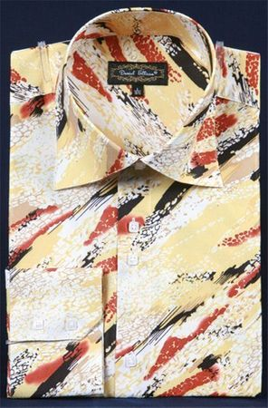 Mens Party Wear Shirt High Collar Mustard Streak Print DE FSS1411 - click to enlarge