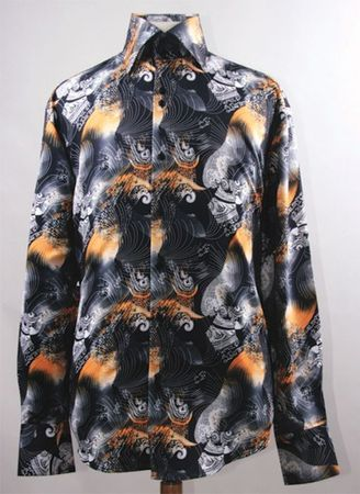 Mens Party Wear Shirts High Collar Black Orange Abstract Print DE FSS1413