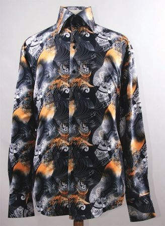 Mens Party Wear Shirts High Collar Black Orange Abstract Print DE FSS1413 - click to enlarge