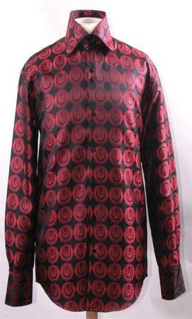 Mens Party Wear Shirts High Collar Black Red Coin DE FSS1431 - click to enlarge