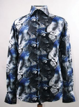 Mens Party Wear Shirts High Collar Black Royal Abstract Print DE FSS1413 - click to enlarge
