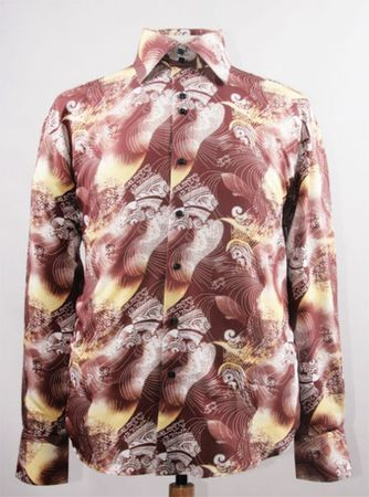 Mens Party Wear Shirts High Collar Brown Abstract Print DE FSS1413