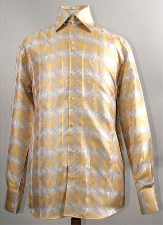 Mens Party Wear Shirts High Collar Mustard Diamond DE FSS1426