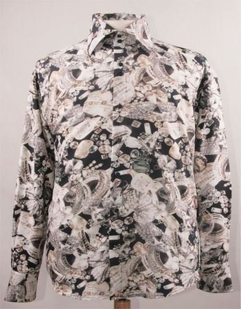 Mens Party Wear Shirts High Collar White Black Jewel Print DE FSS1415 - click to enlarge