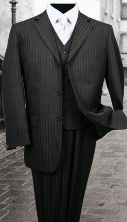 3 Button Style Wool Black Shadow Stripe 3 Piece Suits Alberto 3BVP-1 - click to enlarge