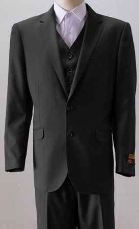 Mens 2 Button Style Wool Black 3 Piece Suits Alberto 2BV1P