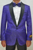 Mens Purple Black Swirl Pattern Prom Tuxedo Blazer Alberto Paisley-300