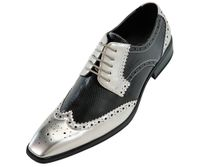 Amali Mens Silver Black Two Tone Wing Tip Shoes 5846