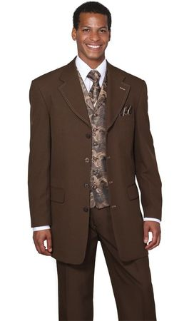 Mens Dress Suits by Milano Moda Brown Fancy Vest 3 Piece 6903V