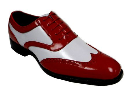 Mens Red White Dress Shoes Two Tone Wingtip  Bolano Phil