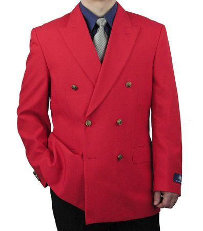 Mens Red Double Breasted Blazer Vittorio Z76B Size 38L & 44L Final Sale
