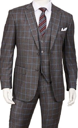 Mens 1920s 3 Piece Suit Gray Square Plaid Vittorio T62PD Size 48R Final Sale - click to enlarge