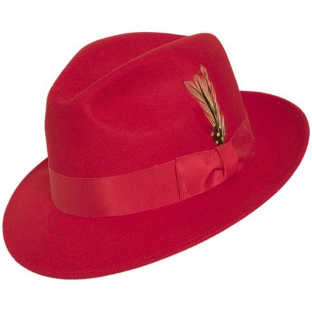 204b541db16 Mens Red Fedora Hat 100% Wool Untouchable Dress Hat 8345