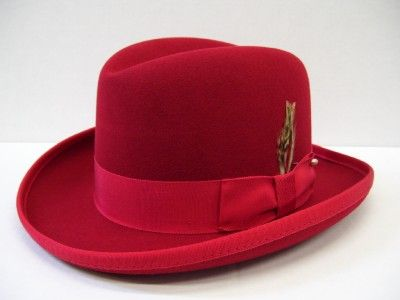 Mens Red Godfather Hat 100% Wool Homburg Dress Hat 4201