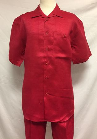 Mens Red Linen 2 Piece Outfit Trust LP601