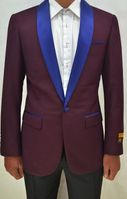 Mens Burgundy/Navy Collar Tuxedo Jacket Alberto Dinner-Jacket