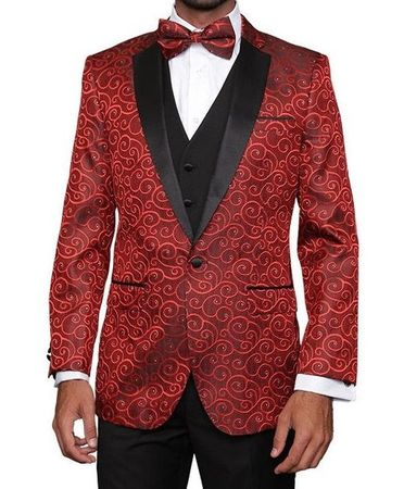 Mens Red Paisley Fashion Tuxedo Modern Fit Statement Bellagio