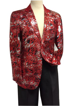 Mens Red Sequin Entertainer Blazer Performer Stage Jacket 5816 Size M