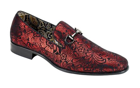 Mens Red Shiny Paisley Smoking Loafers Entertainer Shoes AM 6682