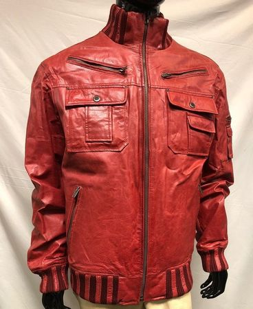 Mens Red Slim Fit Leather Jacket High Collar Phillipe Size 3XL Only - click to enlarge