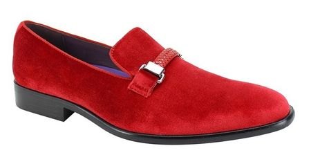 Red Velvet Loafer Men's Party Slip On Tuxedo Shoes AM 6753