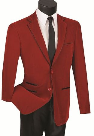 Red Slim Fit Velvet Blazer Mens 2 Button Jacket Vinci NBS-02 - click to enlarge