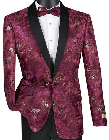 Mens Burgundy Slim Fit Embroidered Prom Blazer Vinci BSF-13