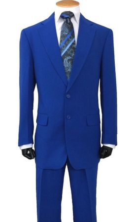 Mens Regular Royal Blue Suit 2 Button Single Breasted Lucci 2PP