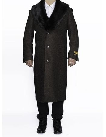Mens Removable Fur Collar Full Length Wool Dress Brown Top Coat Alberto - click to enlarge